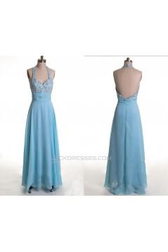 A-Line Halter Beaded Long Blue Chiffon Prom Evening Formal Dresses ED011170