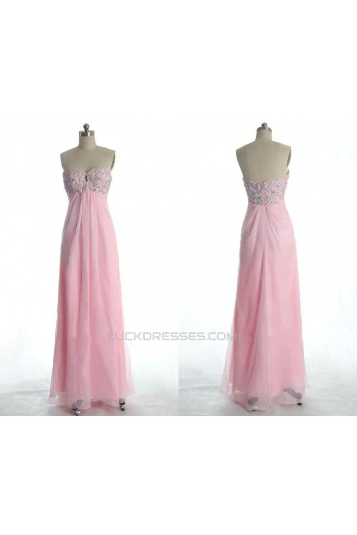 Empire Sweetheart Beaded Long Pink Chiffon Prom Evening Formal Dresses Maternity Dresses ED011172