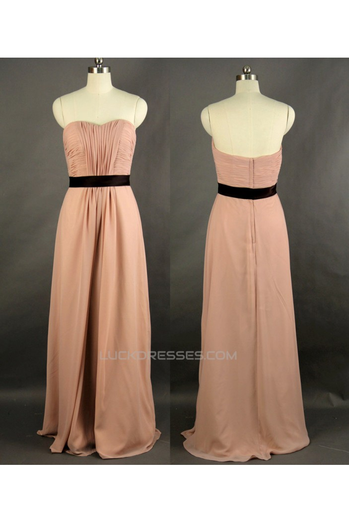 Sheath/Column Sweetheart Beaded Long Chiffon Prom Evening Formal Dresses ED011174
