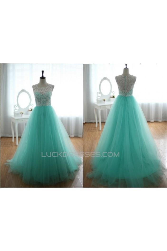 A-Line White Blue Long Prom Evening Formal Dresses ED011176