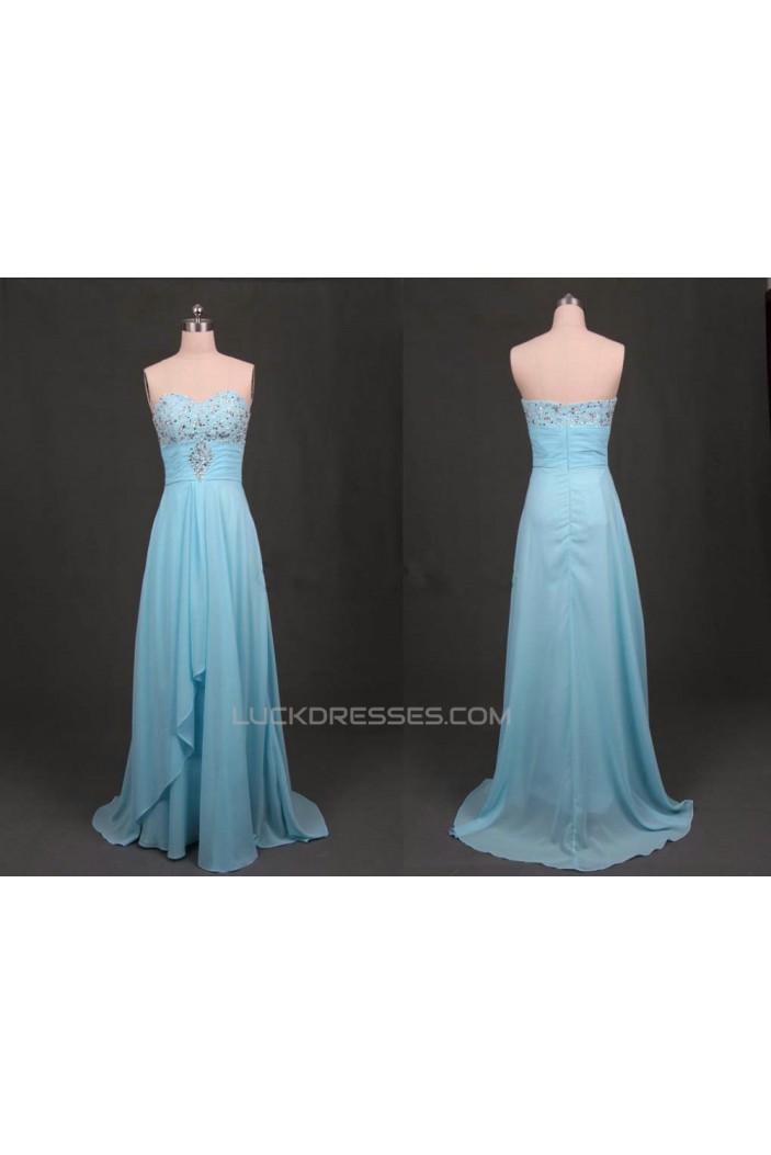 A-Line Sweetheart Beaded Long Blue Chiffon Prom Evening Formal Dresses ED011177