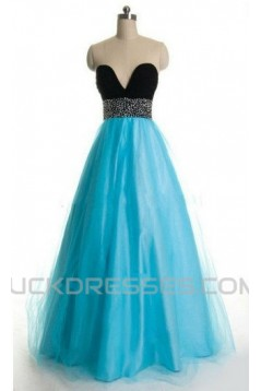 A-Line Sweetheart Beaded Black Blue Floor Length Prom Evening Formal Dresses ED011180