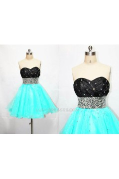 A-Line Sweetheart Beaded Short Black Blue Prom Evening Formal Dresses ED011184