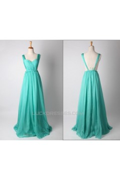 A-Line Straps Sleeveless Long Chiffon Prom Evening Formal Dresses ED011185
