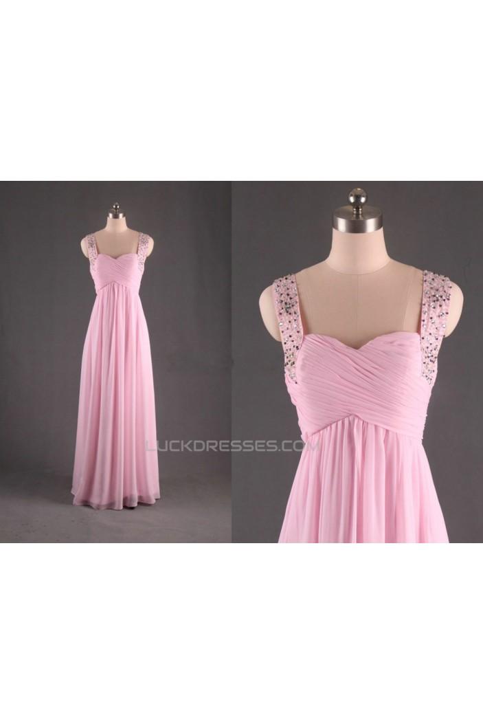 A-Line Straps Sleeveless Beaded Long Pink Chiffon Prom Evening Formal Dresses ED011187