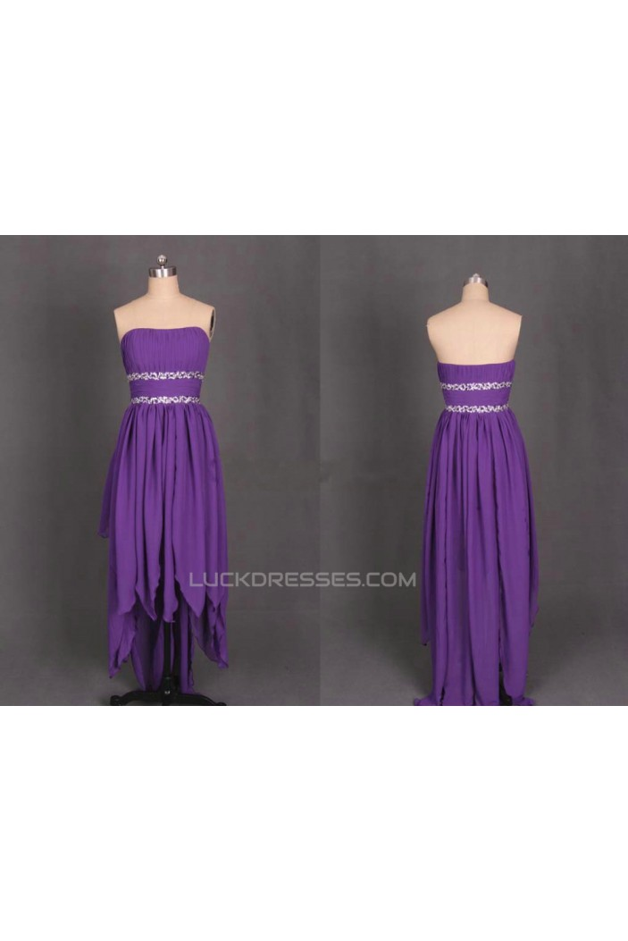 High Low Strapless Beaded Purple Chiffon Prom Evening Formal Dresses ED011188