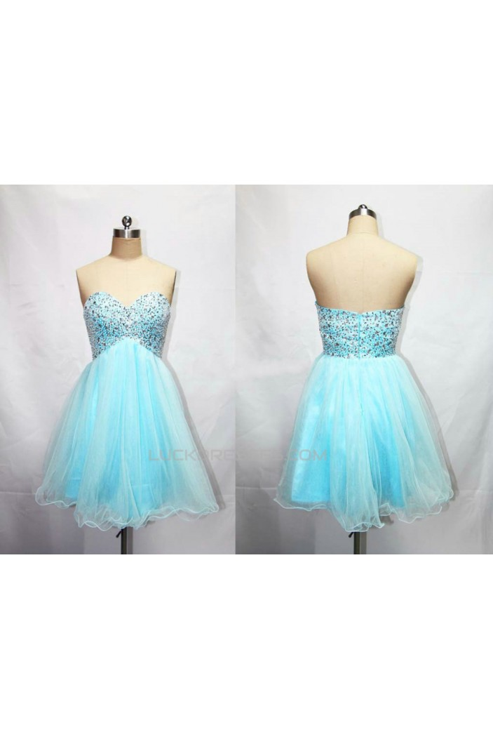 A-Line Sweetheart Beaded Short Blue Tulle Prom Evening Cocktail Dresses ED011189