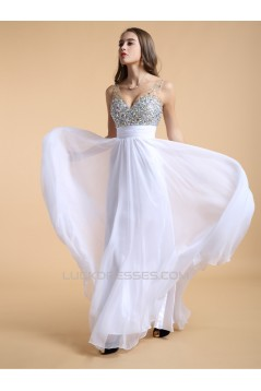 A-Line Beaded Long Pink Chiffon Prom Evening Formal Dresses ED011191