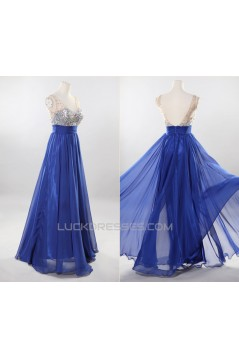 A-Line Beaded Long Blue Chiffon Prom Evening Formal Dresses ED011192
