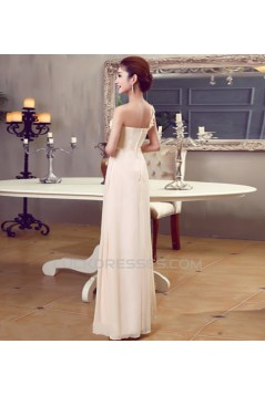 A-Line One-Shoulder Beaded Long Chiffon Prom Evening Formal Dresses ED011194