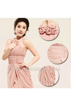 Sheath/Column Halter Long Chiffon Prom Evening Formal Dresses ED011196