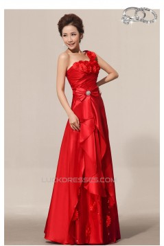 A-Line One-Shoulder Long Red Prom Evening Formal Dresses ED011198