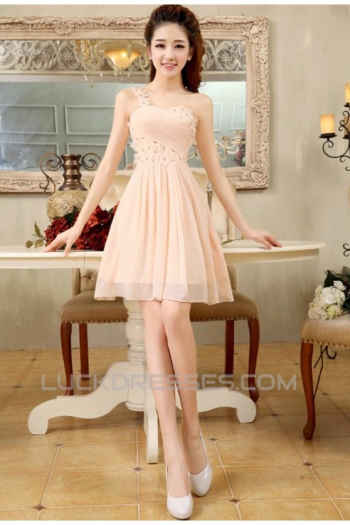 A-Line One-Shoulder Beaded Short Chiffon Prom Evening Formal Dresses ED011199
