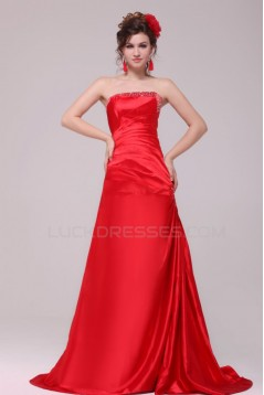 A-Line Strapless Beaded Long Red Prom Evening Formal Party Dresses ED010120