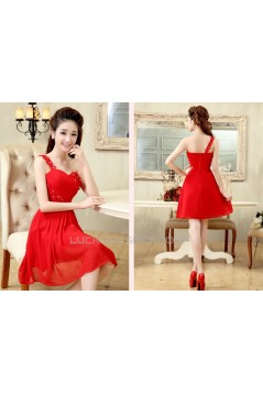 A-Line One-Shoulder Beaded Short Red Chiffon Prom Evening Formal Dresses ED011200