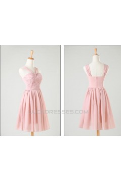 A-Line Short Pink Chiffon Prom Evening Formal Bridesmaid Dresses ED011202