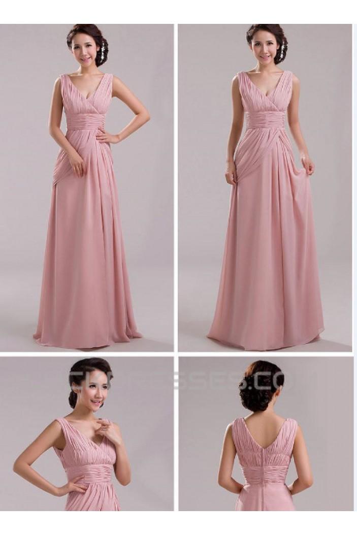 A-Line V-Neck Long Pink Chiffon Prom Evening Formal Bridesmaid Dresses ED011204