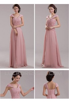 A-Line Off-the-Shoulder Long Pink Chiffon Prom Evening Formal Dresses ED011205