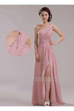 A-Line One-Shoulder Long Pink Chiffon Prom Evening Formal Dresses ED011207