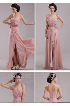 A-Line Long Pink Chiffon Prom Evening Formal Dresses ED011208