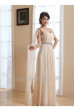 A-Line One-Shoulder Long Chiffon Prom Evening Bridesmaid Dresses ED011209