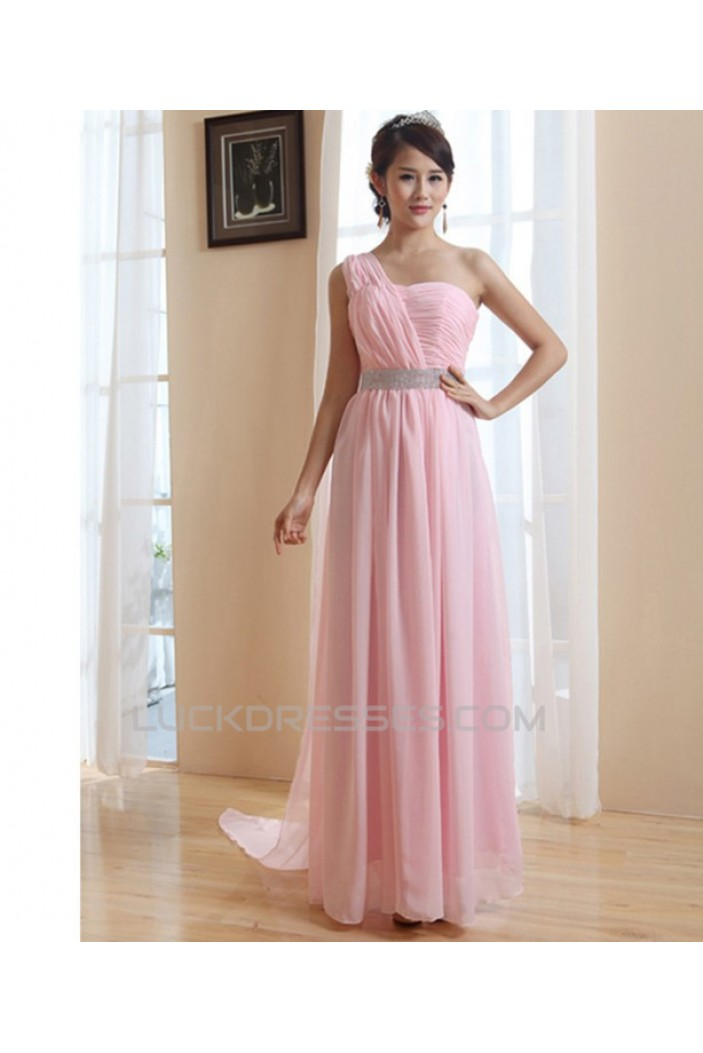 A-Line One-Shoulder Long Pink Chiffon Prom Evening Bridesmaid Dresses ED011210