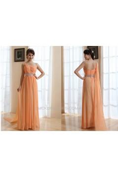 A-Line One-Shoulder Long Chiffon Prom Evening Bridesmaid Dresses ED011211