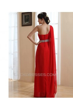 A-Line One-Shoulder Long Red Chiffon Prom Evening Bridesmaid Dresses ED011212