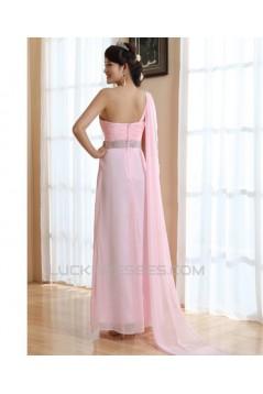 A-Line One-Shoulder Long Chiffon Prom Evening Bridesmaid Dresses ED011213