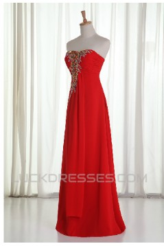 A-Line Sweetheart Beaded Long Red Chiffon Prom Evening Formal Dresses ED011214