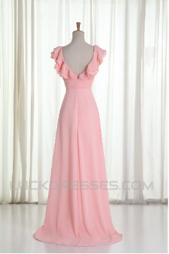 A-Line V-Neck Beaded Long Pink Chiffon Prom Evening Formal Dresses ED011215