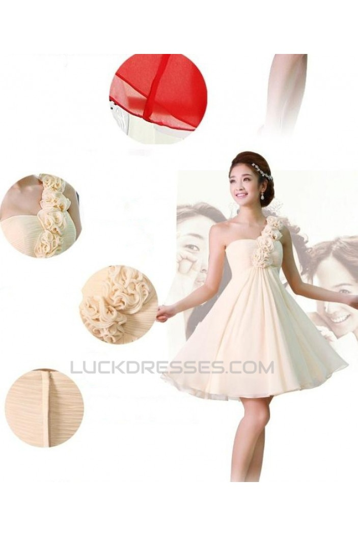 A-Line One-Shoulder Short Chiffon Prom Evening Bridesmaid Dresses ED011217