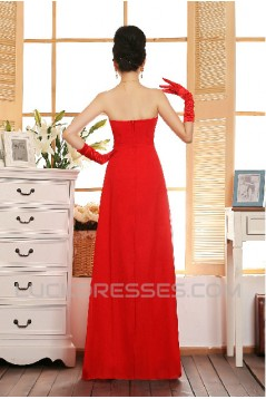 A-Line Strapless Beaded Long Chiffon Prom Evening Formal Dresses ED011218