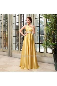 A-Line Halter Beaded Long Prom Evening Formal Dresses ED011219