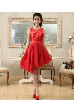 A-Line Short Red Prom Evening Formal Bridesmaid Dresses ED011220