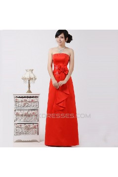 A-Line Strapless Beaded Red Prom Evening Formal Dresses ED011221