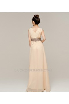 A-Line V-Neck Beaded Long Chiffon Prom Evening Formal Dresses ED011224