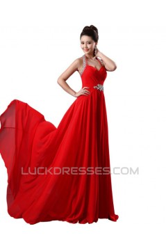 A-Line Halter Beaded Red Chiffon Prom Evening Formal Dresses ED011226