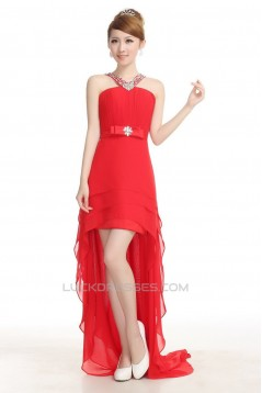 High Low Beaded Red Chiffon Prom Evening Formal Dresses ED011227