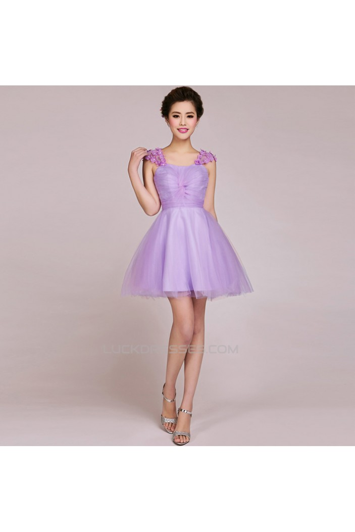 A-Line Short Tulle Prom Evening Formal Bridesmaid Dresses ED011232