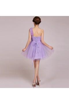 A-Line One-Shoulder Short Tulle Prom Evening Formal Bridesmaid Dresses ED011233