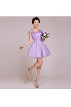 A-Line Cap-Sleeve Short Tulle Prom Evening Formal Bridesmaid Dresses ED011234