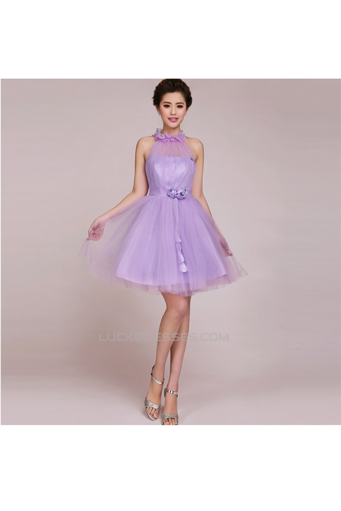 A-Line Short Tulle Prom Evening Formal Bridesmaid Dresses ED011236