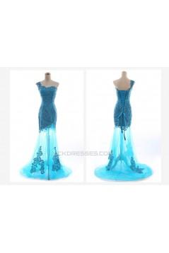 One-Shoulder Long Blue Prom Evening Formal Dresses ED011238