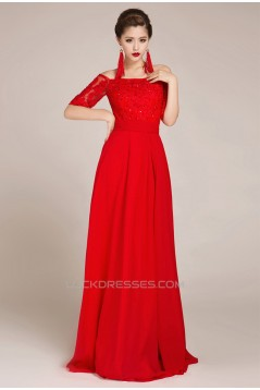 A-Line Off-the-Shoulder Half Sleeve Beaded Applique Long Red Chiffon Prom Evening Formal Dresses ED011239