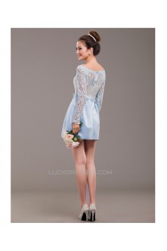 Short Long Sleeve Lace and Satin Prom Evening Formal Dresses ED011241