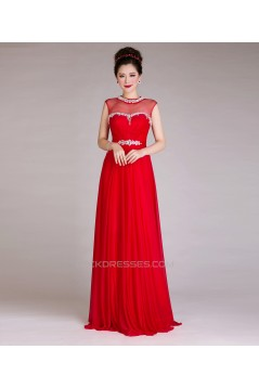 A-Line Jewel Beaded Long Red Chiffon Prom Evening Formal Dresses ED011242