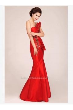 Trumpet/Mermaid Long Red Prom Evening Formal Dresses ED011243