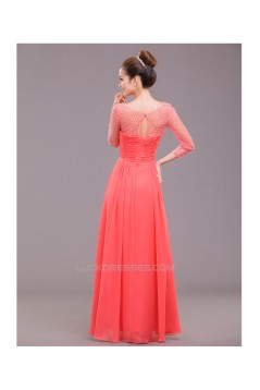 A-Line 3/4 Sleeve Beaded Long Chiffon Prom Evening Formal Dresses ED011244