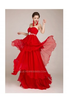 A-Line Strapless Beaded Long Red Chiffon Prom Evening Formal Dresses ED011245